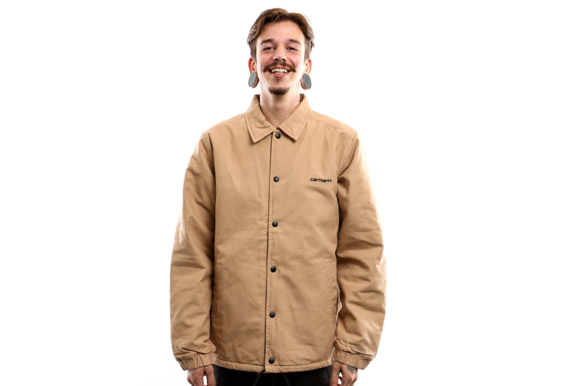 Foto van Carhartt Wip Canvas Coach Jacket I026723 Jacket Dusty Hamilton Brown / Black