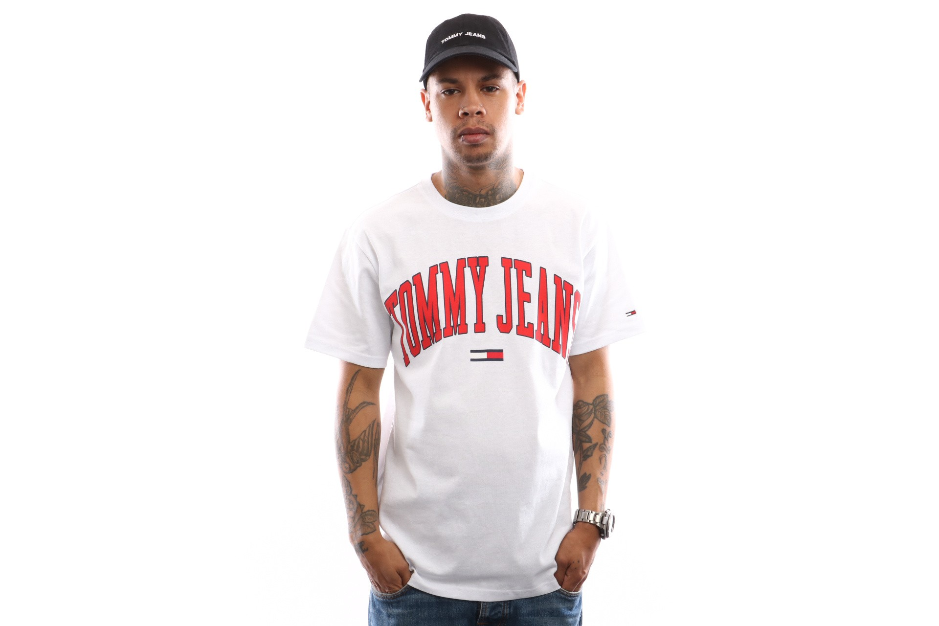 Foto van Tommy Hilfiger Tjm Collegiate Logo Tee Dm0Dm05569 T Shirt Classic White