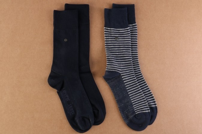 Foto van Levi's Bodywear 943006001-824 Socks 168SF regular cut stripe 2-pack Blauw