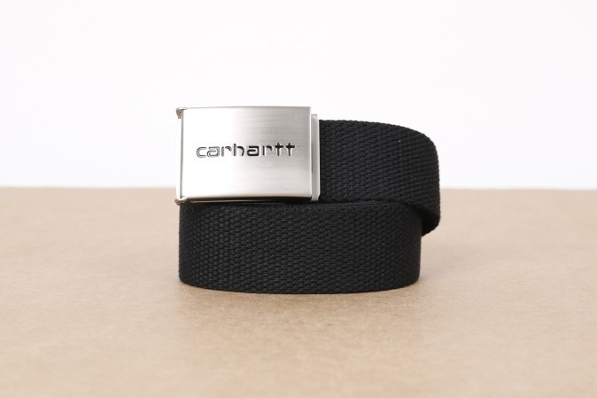 Foto van Carhartt WIP I019176-8900 Belt Clip chrome Zwart