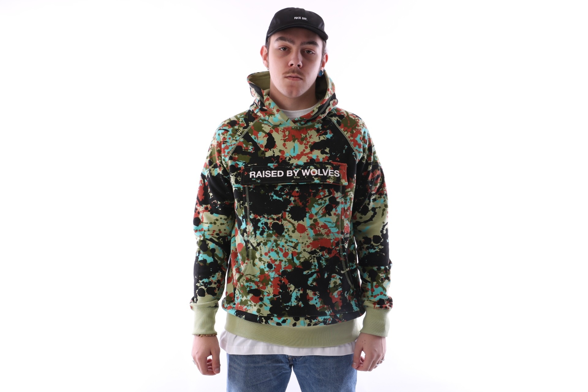 Foto van raised by wolves cargo hooded sweatshirt Speckle Peace Camo French Terry