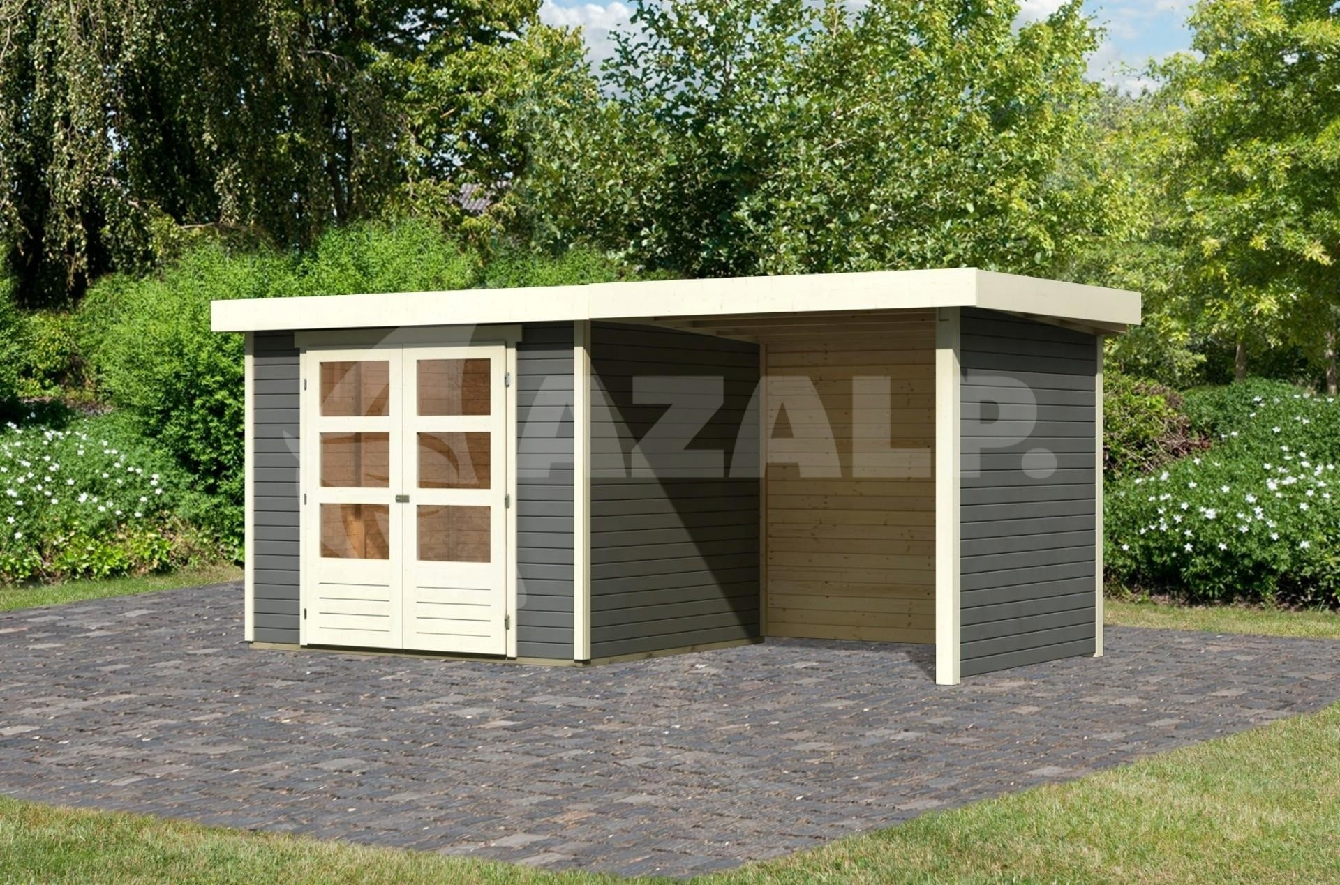 Garage Met Veranda : Woodfeeling askola met veranda terragrijs kopen bij azalp