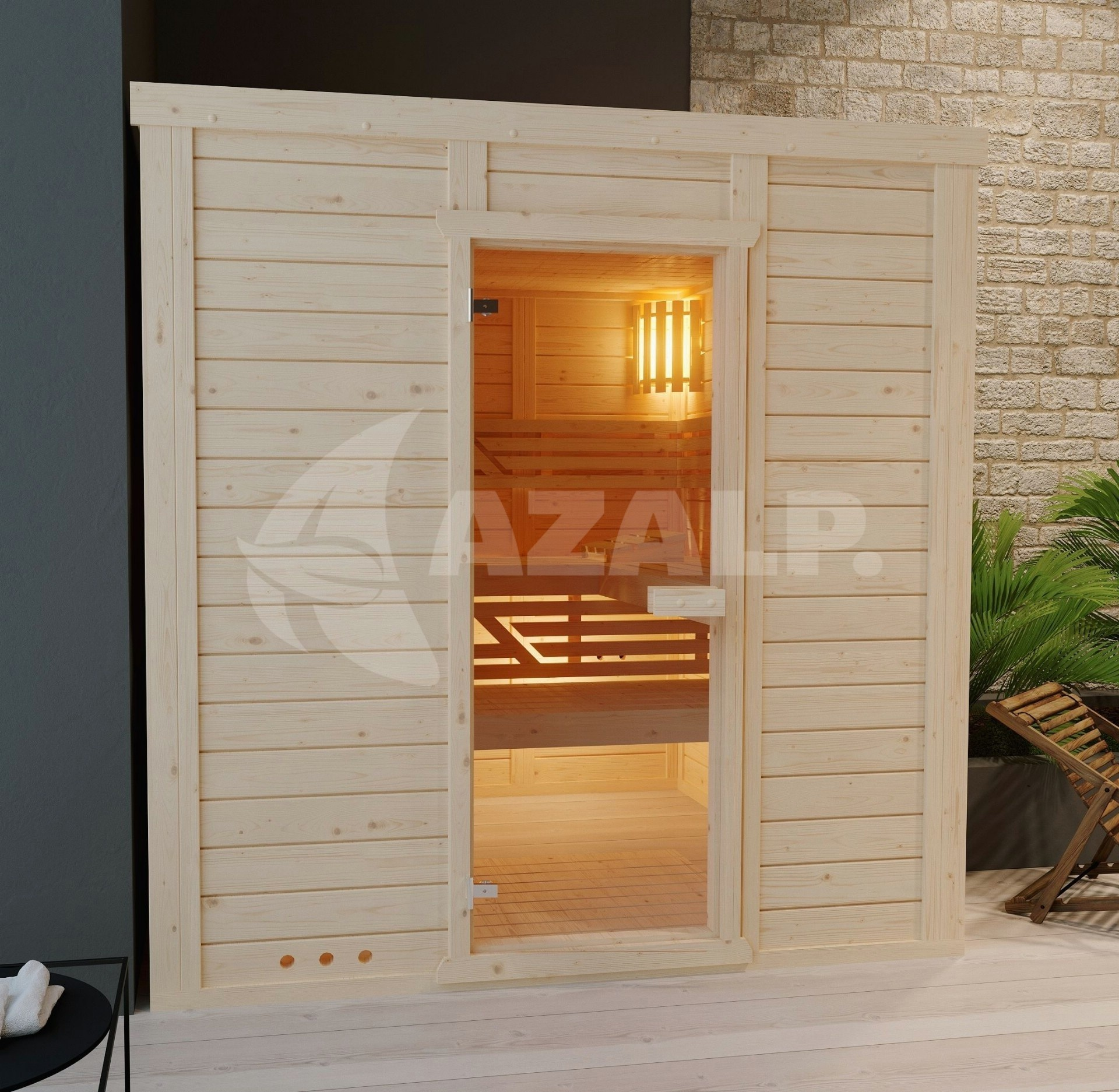 Tuinkast Bayern Gratis Bezorgd Nederland.Azalp Massieve Sauna Genio 190x150 Cm 45 Mm