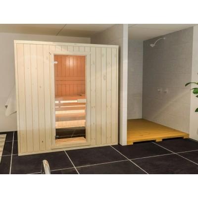 Foto van Azalp Massieve sauna Rio Standaard 207x207 cm, 39 mm