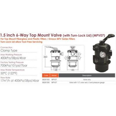 Hoofdafbeelding van Emaux 88281550 (MPV07) 6-way 1,5 Inch Top Mount Valve union set pressure gauge for V, P, MFV Series