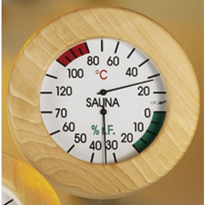 Hoofdafbeelding van Hot Orange Thermo-hygrometer Hout-Wit