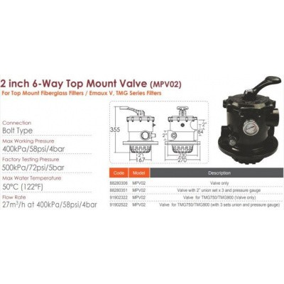 Hoofdafbeelding van Emaux 88280306 (MPV02) 6-way 2 Inch Bolt Top Mount Multiport Valve (Valve only) for V series
