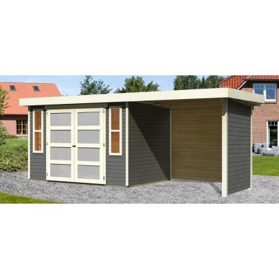 Hoofdafbeelding van Woodfeeling Leuven 4 met veranda 240 cm Terragrijs