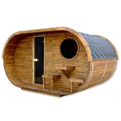 Hauptbild von Azalp Fasssauna Oval 402x240 cm, zwei Zimmer + Terrasse