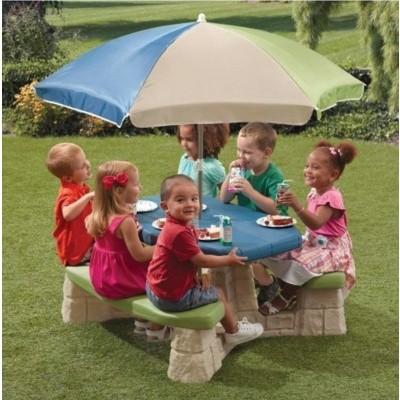 Hoofdafbeelding van Step2 Picknicktafel met parasol (aqua)