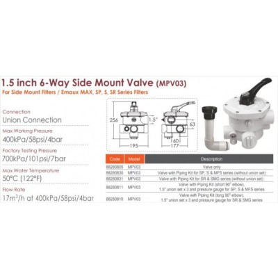 Hoofdafbeelding van Emaux 88280811 (MPV03) 6-way 1,5 Inch Side Mount Valve (black) for MFS17 MFS20 MFS24 (+ SP, S