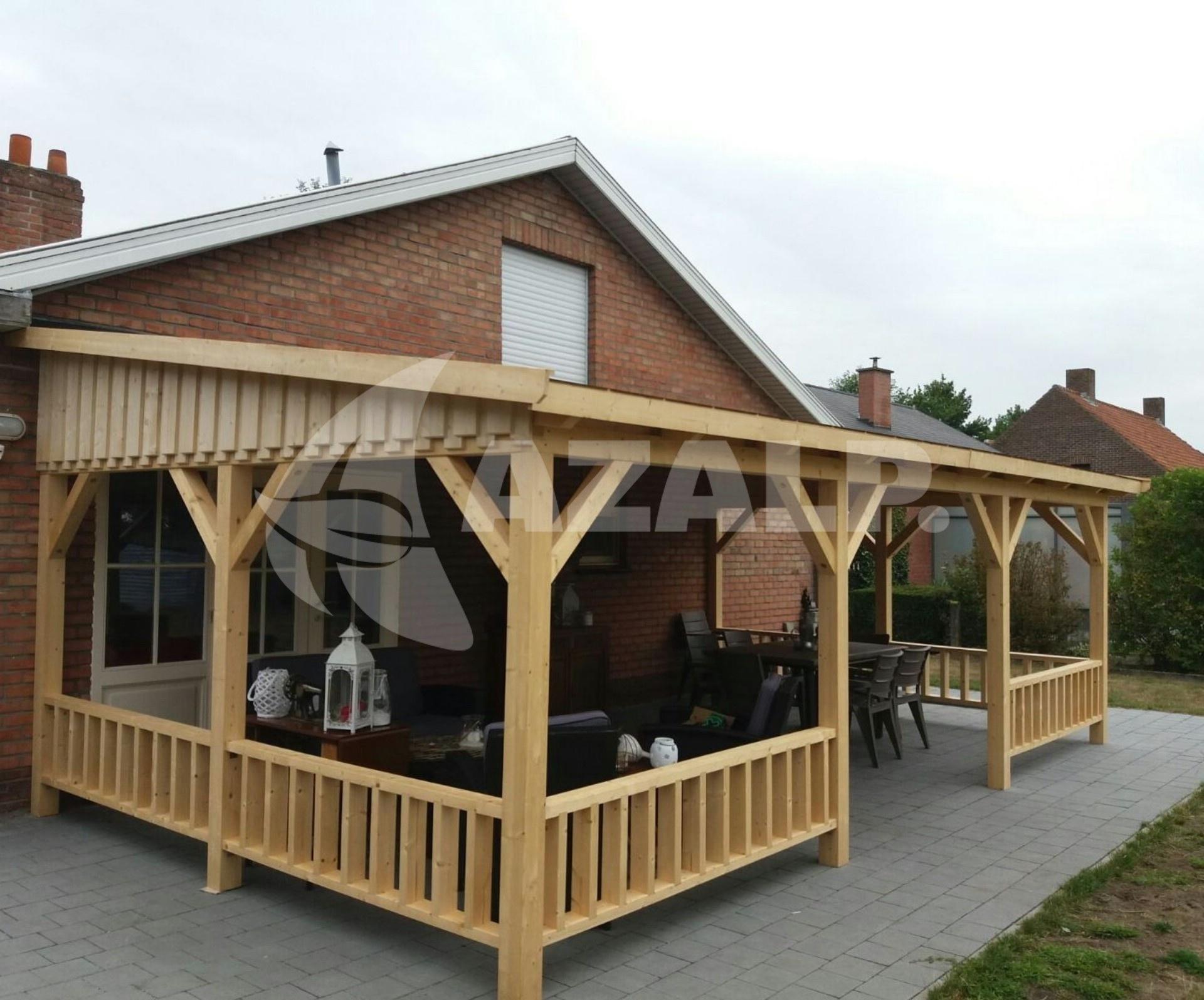 Azalp houten veranda 650x300 cm kopen bij for Houten veranda