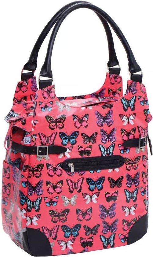 Willex polykatoen shopper 13 liter fuchsia butterfly