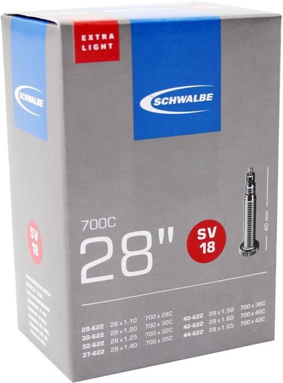 Schwalbe Light - Binnenband Fiets - Frans Ventiel - 40 mm - 28 x 1 1/8 - 1.625