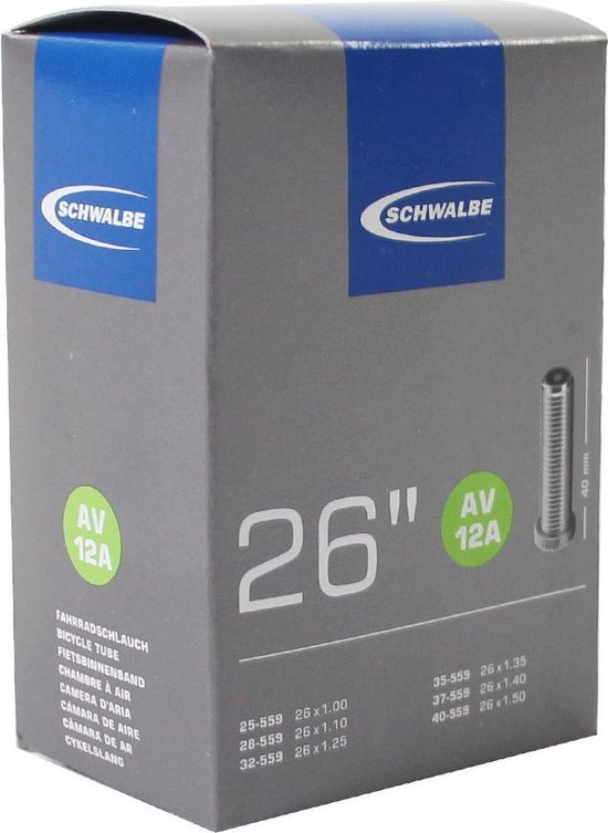 Schwalbe AV12 - Binnenband Fiets - Auto Ventiel - 40 mm - 26 x 1 1/4 - 1 3/8 - 175