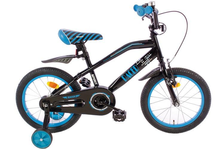 Spirit Racer Jongensfiets zwart-blauw 16 Inch