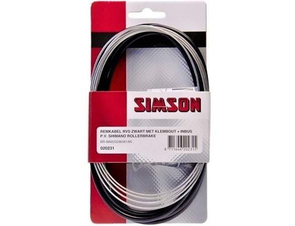 Simson Remkabelset RVS Shimano Rollerbrake zwart 020231