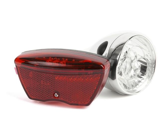 IKZI-Light Retro Koplamp 3xLED chrome + achterlicht