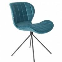 Chair OMG velvet petrol (set van 2)