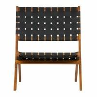 Foto van Lois zwart geweven stoel hout naturel