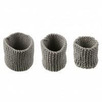 Foto van Effect gebreide manden set van 3 grijs