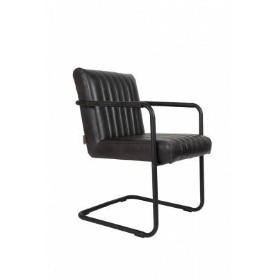 Stitched armchair dark grey set van 2