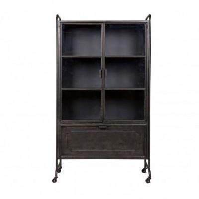 Steel storage vitrinekast metaal zwart