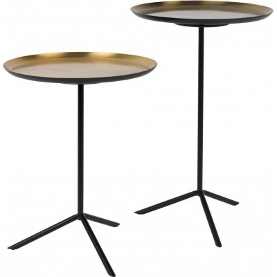 Side table trip set of 2 brass