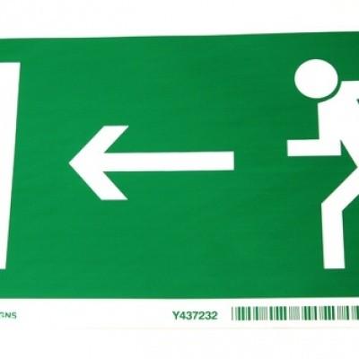 Foto van Sticker nooduitgang Rennende persoon met pijl naar links