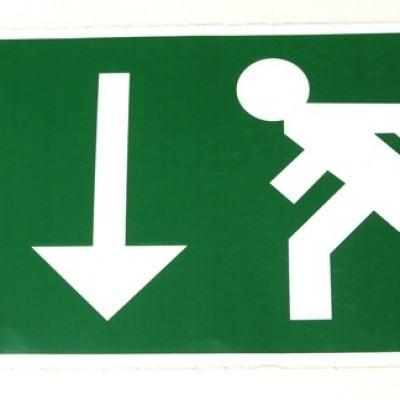 Foto van Sticker nooduitgang Rennende persoon met pijl naar beneden