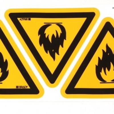 Foto van Waarschuwingssticker Waarschuwing voor brandgevaarlijke stoffen