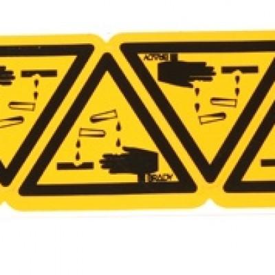 Waarschuwingssticker voor bijtende stoffen klein