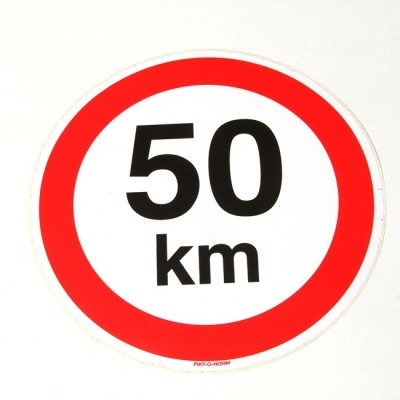 Verbodssticker maximum snelheid 50km