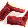 Afbeelding van Pure Wool Fair Trade Gebreide Slofsokken met lederen Zool Maroon ONE SIZE