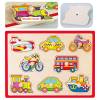 Afbeelding van Viga Toys Knopjespuzzel Voertuigen Hout 8 stukjes