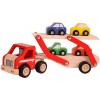 Afbeelding van Santoys Houten Rubberwood Auto Transporter met 4 auto's