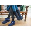 Afbeelding van Pure Wool Slofsokken met lederen Zool Blauw ONE SIZE