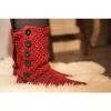 Afbeelding van Pure Wool Slofsokken met lederen Zool Maroon ONE SIZE