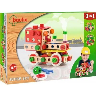 Baufix Super Set Houten Constructiespeelgoed 3-in-1 - 103 delig (10415)