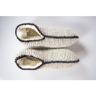 Pure Wool Fair Trade Gebreide Homesok Sherpa Gevoerd Ecru ONE SIZE