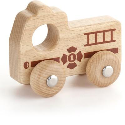 Viga Toys Houten Grijp-duw Brandweerauto