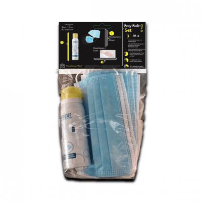 Stay Safe Pakket: Mondmaskers, Desinfectie Handgel en Wegwerp Handschoenen (latex vrij)