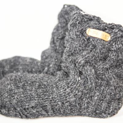 Pure Wool Fair Trade Gebreide Slofsokken Sherpa Gevoerd Antraciet ONE SIZE