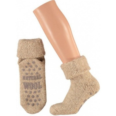 Apollo Wollen Dames Huissokken Anti Slip 24356 Beige