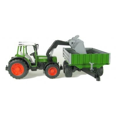 Foto van Bruder Fendt 209S Tractor met Voorlader en Kipper - Schaal 1:16