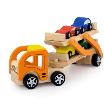Viga Toys Houten Auto Transporter met 4 Auto's