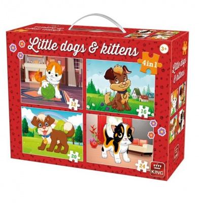 King Puzzel 4-in-1 Honden en Poezen in Koffertje - 72 delig