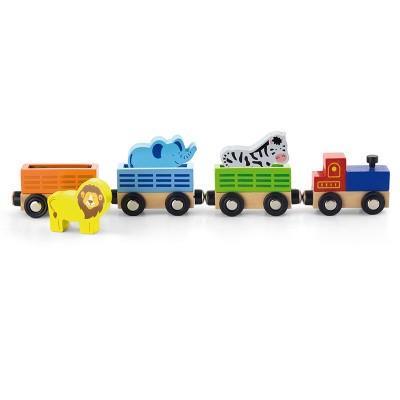 Viga Toys 4-delige Treinbaan met Wilde Dieren