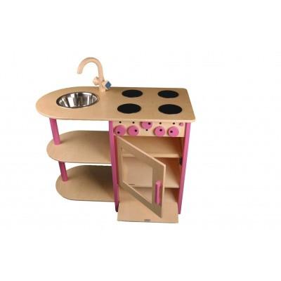 Foto van Combi Keukenblok Roze voor peuters en kleuters - Van Dijk Toys