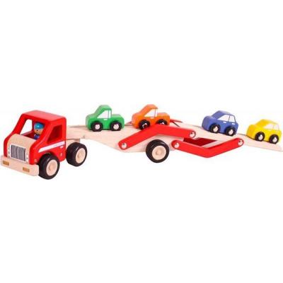 Santoys Houten Rubberwood Auto Transporter met 4 auto's